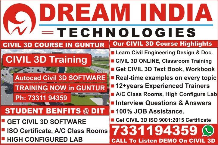 Civil 3D Training in Guntur, Mangalagiri, Sattenapalli, Tadepalle, Tenali, Ponnur, Bapatla, Repalle, Narasaraopet, Chilakaluripet, Vinukonda, Macherla, Piduguralla, Dachepalle, Gurazala, Brodipet, Lakshmipuram, Arundelpet, Ameerpet, Hyderabad, Vijayawada, Vizag