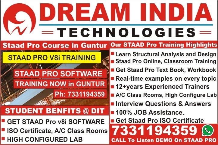 Staad Pro Training in Guntur, Mangalagiri, Sattenapalli, Tadepalle, Tenali, Ponnur, Bapatla, Repalle, Narasaraopet, Chilakaluripet, Vinukonda, Macherla, Piduguralla, Dachepalle, Gurazala, Brodipet, Lakshmipuram, Arundelpet, Ameerpet, Hyderabad, Vijayawada, Vizag